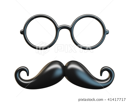Black mustache and circular glasses 3D rendering 41417717
