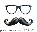 Black mustache and glasses 3D rendering 41417718