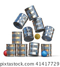 Falling tin cans and three balls 3D 41417729