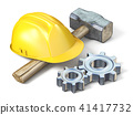 Yellow safety helmet, hammer and metal gears 3D 41417732