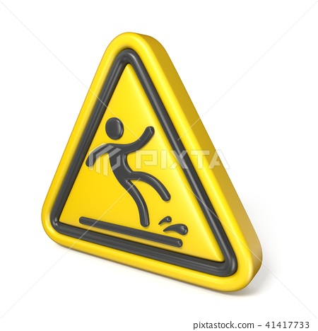 Wet floor sign yellow triangle with falling man 3D 41417733