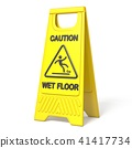 Yellow caution slippery wet floor sign 3D 41417734