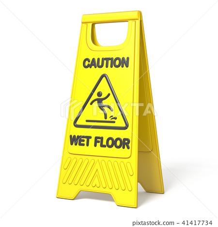 Yellow caution slippery wet floor sign 3D 41417734
