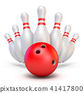 Red bowling ball and scattered pins 3D rendering 41417800