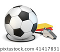 Football concept cards, whistle and soccer ball 3D 41417831