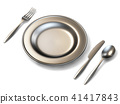 Metal plate, fork, knife and spoon side view 3D 41417843