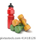 Plastic bottle and dumbbells 3D 41418126