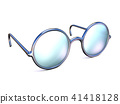 Retro silver glasses side view 3D 41418128