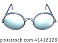 Retro silver glasses front view 3D 41418129