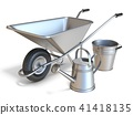Wheelbarrow with watering can and metal bucket 3D 41418135
