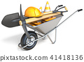 Wheelbarrow with tools 3D 41418136
