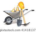 Wheelbarrow with shovel, pickaxe and hardhat 3D 41418137