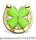 Horse shoe and big four leaf clover Front view 3D 41418392