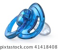 Blue baby pacifier side view 3D 41418408