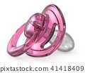 Pink baby pacifier side view 3D 41418409