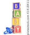 Word BABY of toy blocks and baby pacifier 3D 41418411