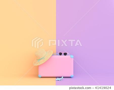 Travel suitcase pastel pink 41419024