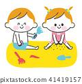 孩子们在沙滩上玩耍 41419157