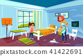 Mother and daughter cleaning room vector illustration 41422691