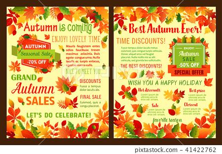 Autumn sale shop discount vector leaflet or poster 41422762