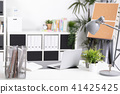 Workplace with notebook laptop work table 41425425