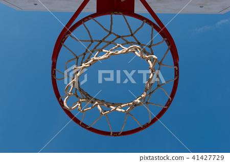 Closeup basketball hoop, basket with white net 41427729