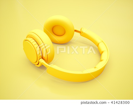 3D Rendering Yellow headphones isolated on yellow  41428300