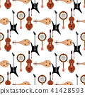 Seamless pattern background stringed musical instruments classical orchestra art sound tool and 41428593