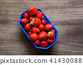 topview of strawberries on wooden background 41430088