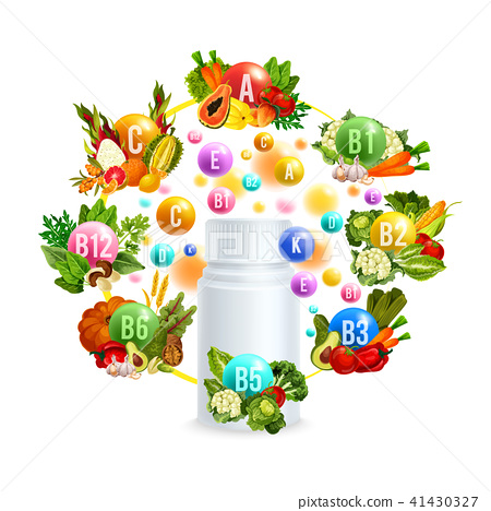 Natural vitamin with healthy food poster design 41430327