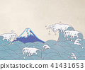 波浪飛濺富士山日本紙 41431653