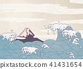 파도, 후지산, 일본 종이 41431654