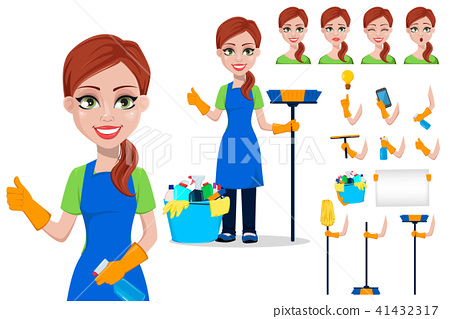 Cleaning company staff in uniform 41432317