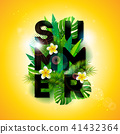Vector Summer Holiday typographic illustration with exotic leaf and flower on tropical plants 41432364