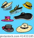 Summer Hats collection for elegant woman, female and ladies. Retro fashion vintage set. Breton 41433185