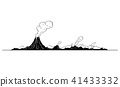 Vector Artistic Drawing Illustration of Volcano Landscape 41433332