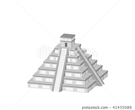 Mayan pyramid. Isolated on white background.  41435089