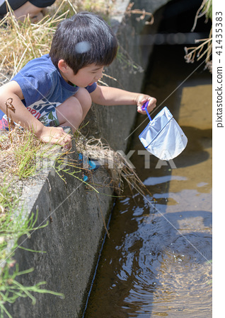 자연 물놀이 여름 방학 곤충 잡기 아이 41435383