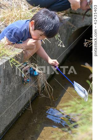 자연 물놀이 여름 방학 곤충 잡기 아이 41435403