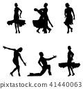 set dancers black silhouettes 41440063
