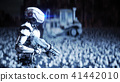 military robot and skulls of people. Dramatic apocalypse super realistic concept. Rise of the 41442010