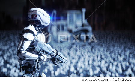 6bbb3e93414 military robot and skulls of people. Dramatic apocalypse super ...