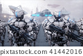 invasion of military robots. Dramatic apocalypse super realistic concept. Future. 3d rendering. 41442016