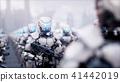invasion of military robots. Dramatic apocalypse super realistic concept. Future. 3d rendering. 41442019