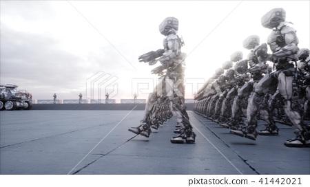 invasion of military robots. Dramatic apocalypse super realistic concept. Future. 3d rendering. 41442021