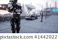 invasion of military robots. Dramatic apocalypse super realistic concept. Future. 3d rendering. 41442022