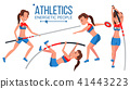 Athletics Female Player Vector. Win Concept. Various. Race Competition. Hurdle long Jump. In Action 41443223