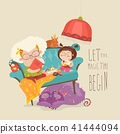 Grandmother reading fairytales to her granddaughter 41444094