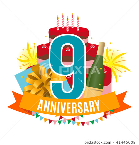Template 9 Years Anniversary Congratulations, Greeting Card with Cake, Gift Box, Fireworks and 41445008