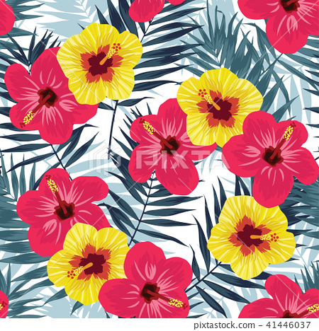 Tropical jungle seamless pattern with palm leaves and hibiscus flowers. Summer fabric floral design 41446037